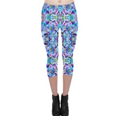 Elegant Turquoise Blue Flower Pattern Capri Leggings by Costasonlineshop