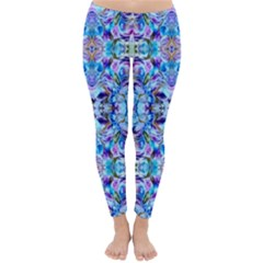 Elegant Turquoise Blue Flower Pattern Winter Leggings  by Costasonlineshop