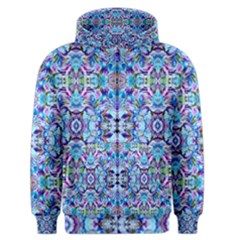 Elegant Turquoise Blue Flower Pattern Men s Zipper Hoodies by Costasonlineshop