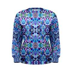 Elegant Turquoise Blue Flower Pattern Women s Sweatshirts by Costasonlineshop