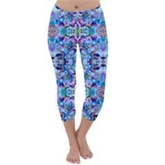 Elegant Turquoise Blue Flower Pattern Capri Winter Leggings  by Costasonlineshop