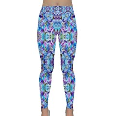 Elegant Turquoise Blue Flower Pattern Yoga Leggings by Costasonlineshop