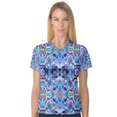 Elegant Turquoise Blue Flower Pattern Women s V Neck Sport Mesh Tee by Costasonlineshop