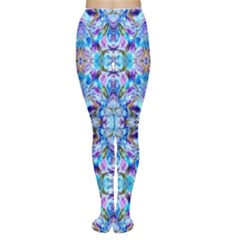 Elegant Turquoise Blue Flower Pattern Women s Tights by Costasonlineshop