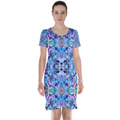 Elegant Turquoise Blue Flower Pattern Short Sleeve Nightdresses by Costasonlineshop