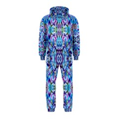 Elegant Turquoise Blue Flower Pattern Hooded Jumpsuit (kids) by Costasonlineshop