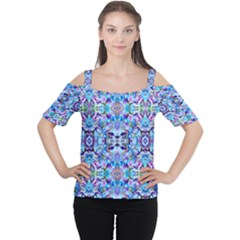 Elegant Turquoise Blue Flower Pattern Women s Cutout Shoulder Tee by Costasonlineshop