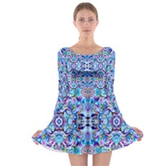 Elegant Turquoise Blue Flower Pattern Long Sleeve Skater Dress by Costasonlineshop