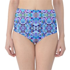 Elegant Turquoise Blue Flower Pattern High Waist Bikini Bottoms by Costasonlineshop