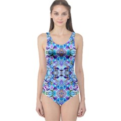 Elegant Turquoise Blue Flower Pattern One Piece Swimsuit by Costasonlineshop