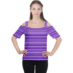 Purple Tribal Pattern Women s Cutout Shoulder Tee
