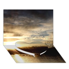 Setting Sun At Lake Heart Bottom 3d Greeting Card (7x5)