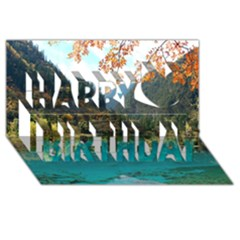 Jiuzhaigou Valley 3 Happy Birthday 3d Greeting Card (8x4)