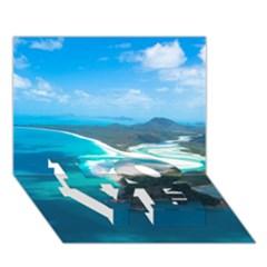 Whitehaven Beach 2 Love Bottom 3d Greeting Card (7x5)  by trendistuff