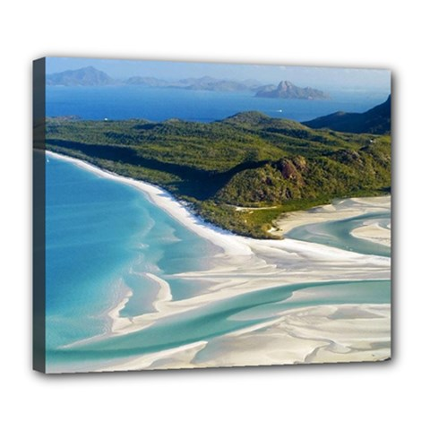 Whitehaven Beach 1 Deluxe Canvas 24  X 20   by trendistuff