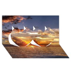 Tahitian Sunset Twin Hearts 3d Greeting Card (8x4)  by trendistuff