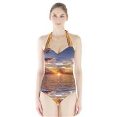 Tahitian Sunset Women s Halter One Piece Swimsuit