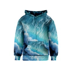 STORM WAVES Kids Zipper Hoodies by trendistuff