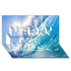 Ocean Wave 1 Merry Xmas 3d Greeting Card (8x4)
