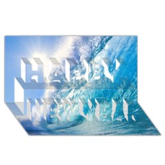 Ocean Wave 1 Happy New Year 3d Greeting Card (8x4)