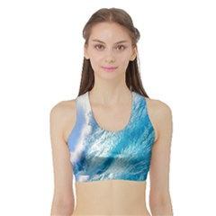 Ocean Wave 1 Women s Sports Bra With Border by trendistuff