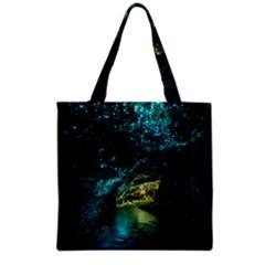 Waitomo Glowworm Grocery Tote Bags by trendistuff