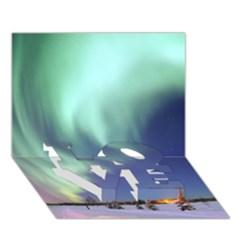 Aurora Borealis Love Bottom 3d Greeting Card (7x5)