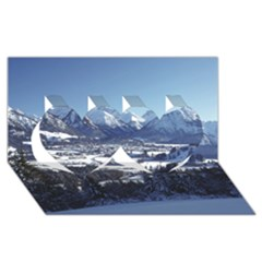 Snowy Mountains Twin Hearts 3d Greeting Card (8x4)