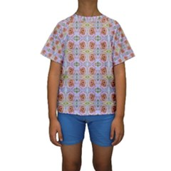 Pink Light Blue Pastel Flowers Kid s Short Sleeve Swimwear