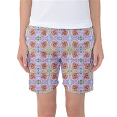 Pink Light Blue Pastel Flowers Women s Basketball Shorts