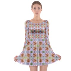 Pink Light Blue Pastel Flowers Long Sleeve Skater Dress