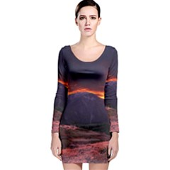 San Gabriel Mountain Sunset Long Sleeve Bodycon Dresses by trendistuff