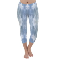Ice Crystals Abstract Pattern Capri Winter Leggings  by Costasonlineshop