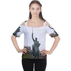 WASHINGTON STATUE Women s Cutout Shoulder Tee by trendistuff