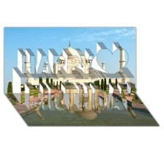 Taj Mahal Happy Birthday 3d Greeting Card (8x4)  by trendistuff