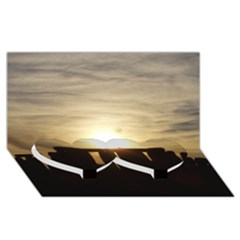 Sunset Stonehenge Twin Heart Bottom 3d Greeting Card (8x4)  by trendistuff