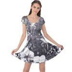 Black White Orchid trim stipr hr Cap Sleeve Dress