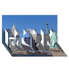 Ny Liberty 2 Mom 3d Greeting Card (8x4)  by trendistuff