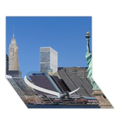 Ny Liberty 2 Heart Bottom 3d Greeting Card (7x5)
