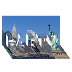 Ny Liberty 2 Party 3d Greeting Card (8x4)