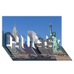 Ny Liberty 2 Hugs 3d Greeting Card (8x4)  by trendistuff