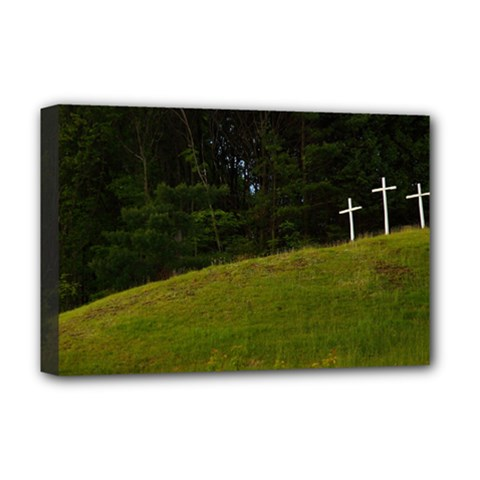 Three Crosses On A Hill Deluxe Canvas 18  X 12   by trendistuff