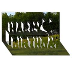 Three Crosses On A Hill Happy Birthday 3d Greeting Card (8x4)  by trendistuff