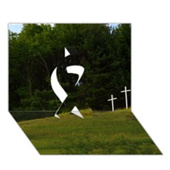 Three Crosses On A Hill Ribbon 3d Greeting Card (7x5)  by trendistuff