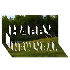 Three Crosses On A Hill Happy New Year 3d Greeting Card (8x4)