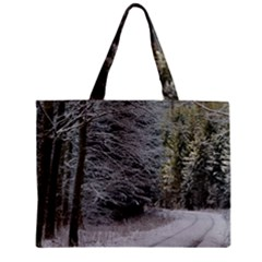 SNOW ON ROAD Zipper Tiny Tote Bags by trendistuff