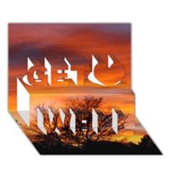 Orange Sunset Get Well 3d Greeting Card (7x5)  by trendistuff