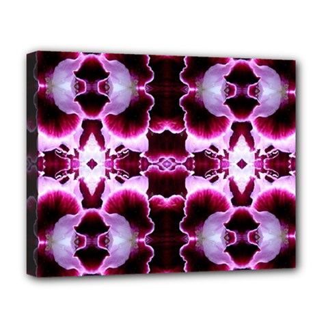 White Burgundy Flower Abstract Deluxe Canvas 20  X 16   by Costasonlineshop