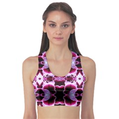 White Burgundy Flower Abstract Sports Bra