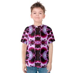 White Burgundy Flower Abstract Kid s Cotton Tee by Costasonlineshop